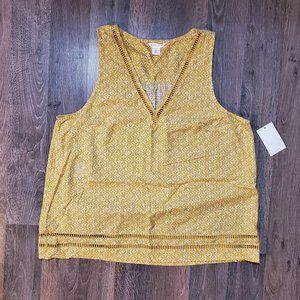 🆕 Caslon Yellow VNeck Sleeveless Blouse Size S